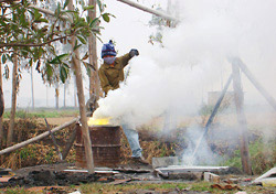Open-air lead smelting in Vietnam