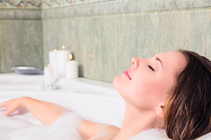 Enjoy a nice long soak in the bath with essential oils to relax.