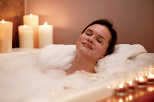 Relaxing essential oils in the bath