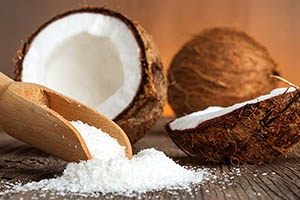 Coconut butter is processed to produce coconut oil