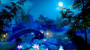 A romantic moonlight garden